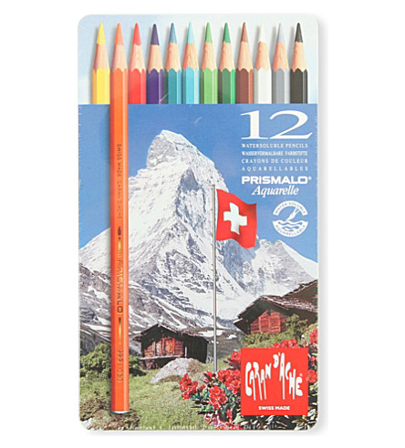 CARAN D'ACHE 12 Prismalo Aquarelle Water-Souble Pencils In Tin