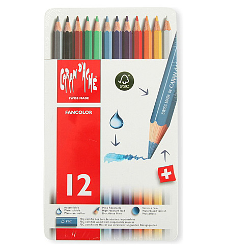 CARAN D'ACHE 12 Fancolor Water-Soluble Pencils In Tin