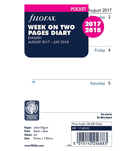 FILOFAX Pocket week on two pages 2017-18 diary inserts