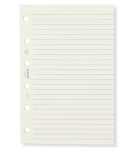 FILOFAX Pocket cream ruled paper insert
