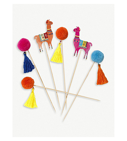 TALKING TABLES Boho mixed llama and pom-pom cocktail sticks pack of 12