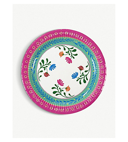 TALKING TABLES Boho mixed floral paper plates pack of 12