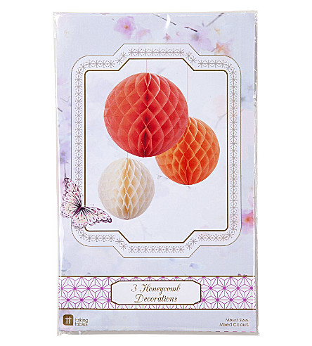 TALKING TABLES Pack of three Blush Mix Honeycomb decorations