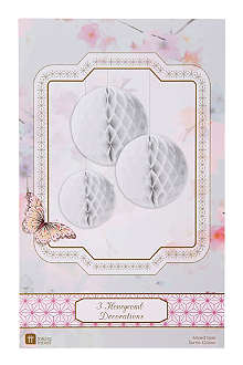 TALKING TABLES Decadent Decs set of three honeycomb decorations
