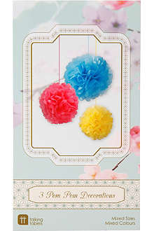TALKING TABLES Decadent Decs set of three pom poms