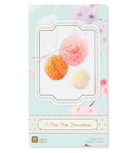 TALKING TABLES Decadent Decs pack of three Pastel Pom Poms