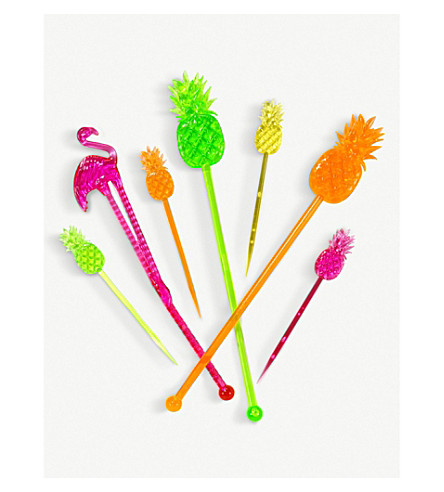 TALKING TABLES Fiesta pineapple and flamingo stirrers and picks pack of 24