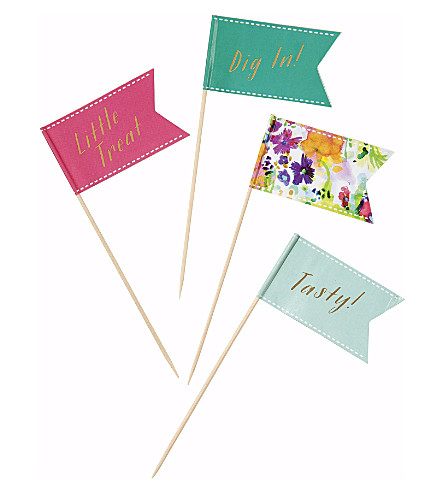 TALKING TABLES Pack of 24 Floral Fiesta canape flags