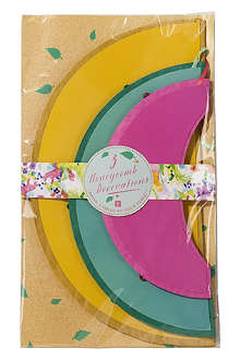 TALKING TABLES Pack of three Floral Fiesta honeycomb decorations
