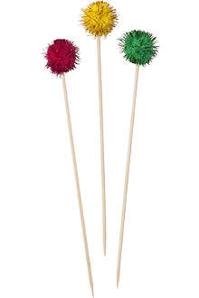 TALKING TABLES Pack of 18 Floral Fiesta Pom Pom picks