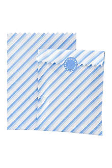 TALKING TABLES Pack of 10 striped treat bags Blue