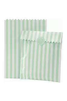 TALKING TABLES Pack of 10 striped treat bags Mint