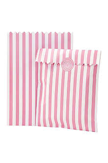 TALKING TABLES Pack of 10 striped treat pags Pink