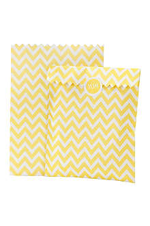 TALKING TABLES Pack of 10 zig zag treat bags Yellow