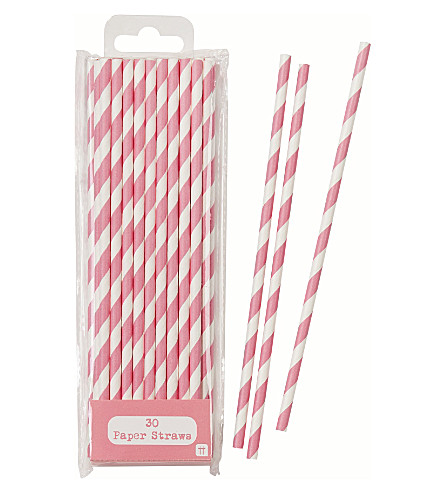 TALKING TABLES Pack of 30 striped paper straws