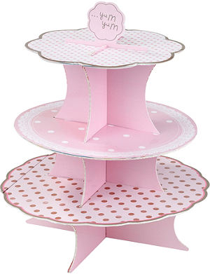 TALKING TABLES Pink three tier cake stand