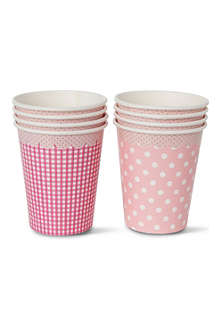 TALKING TABLES Pink cups pack of eight