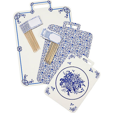 TALKING TABLES Party Porcelain Blue cheeseboard pack of 3