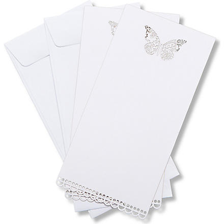 TALKING TABLES Butterfly wedding invitations and envelopes set of ten