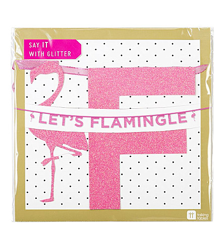 TALKING TABLES 'Let's flamingle' glitter banner