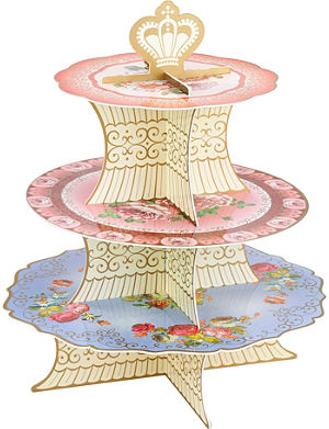 TALKING TABLES Floral three tier cake stand