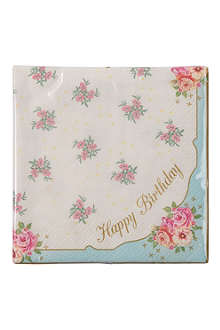 TALKING TABLES Truly Scrumptious Happy Birthday set of 20 napkins