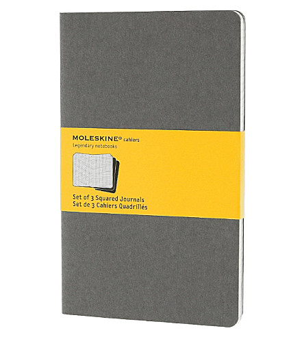 MOLESKINE Set of three large squared Cahier journals