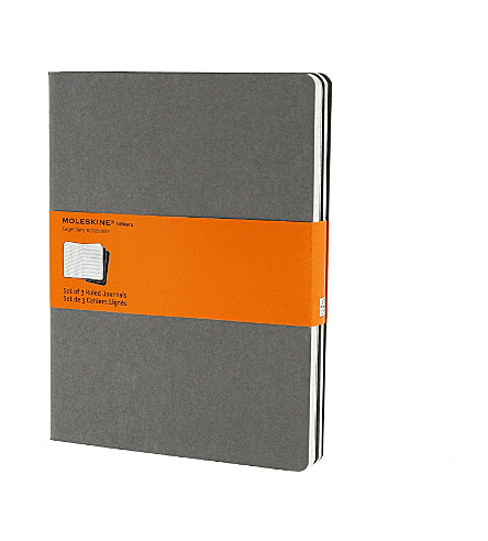 MOLESKINE Set of three extra large ruled Cahier journals