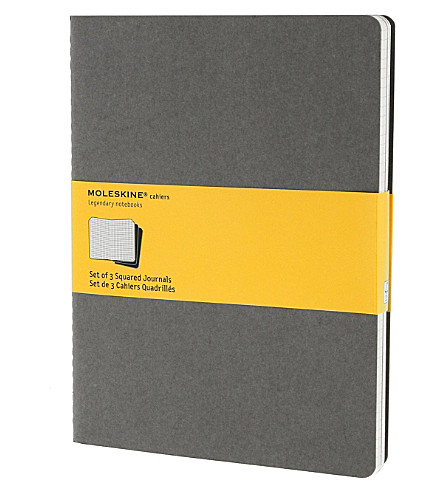 MOLESKINE Set of three extra large squared Cahier journals