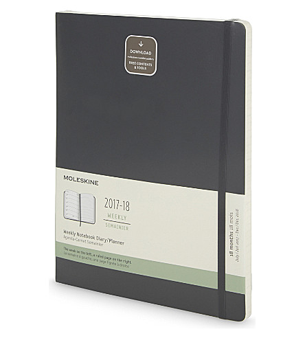 MOLESKINE Weekly mid-year 2017/2018 notebook diary/planner 25cm