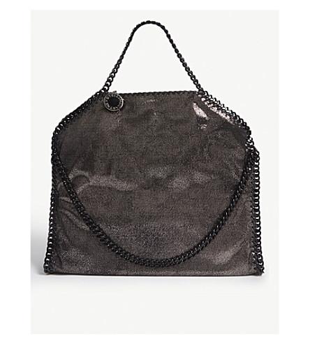 STELLA MCCARTNEY Falabella metallic faux-leather shoulder bag (Ruthenium
