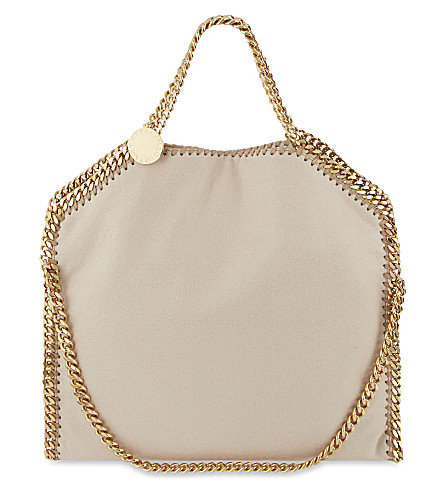 STELLA MCCARTNEY Falabella faux-suede shoulder bag (Nude