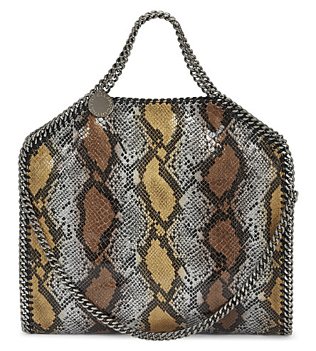 STELLA MCCARTNEY Falabella snake-embossed faux leather shoulder bag (Bronze-metallic