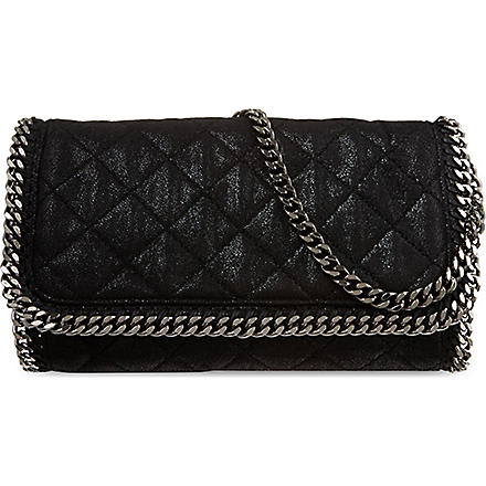 STELLA MCCARTNEY Falabella chain quilted clutch (Black