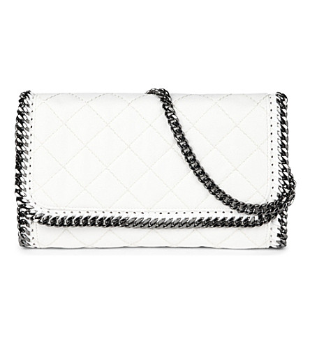 STELLA MCCARTNEY Falabella quilted faux-leather chain clutch (White