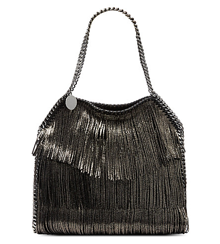 STELLA MCCARTNEY Falabella small fringed bag (Black