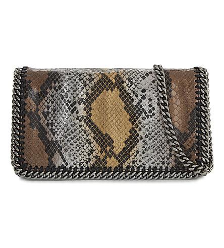STELLA MCCARTNEY Metallic snake-embossed faux-leather cross-body bag (Bronze-metallic