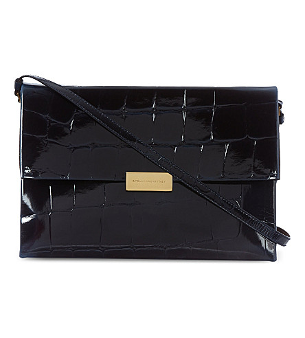 STELLA MCCARTNEY Beckett faux croc shoulder bag (Ink