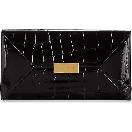 STELLA MCCARTNEY Faux-croc Beckett clutch (Ink
