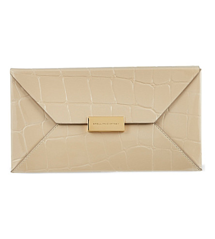 STELLA MCCARTNEY Becket mock-croc envelope clutch (Champagne