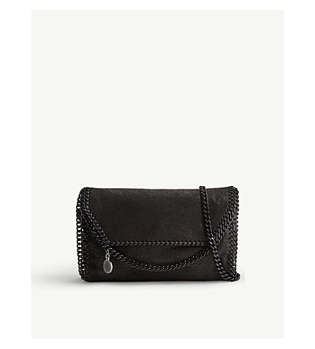 STELLA MCCARTNEY Falabella faux-suede cross-body bag (Black+black