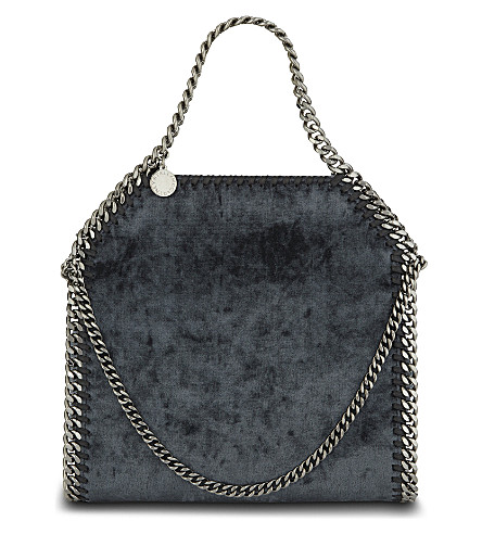 STELLA MCCARTNEY Mini Baby Bella velvet shoulder bag (Charcoal