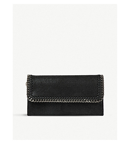 STELLA MCCARTNEY Falabella faux-suede continental wallet (Black