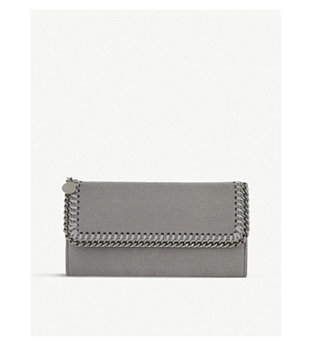 STELLA MCCARTNEY Falabella faux-suede continental wallet (Light grey