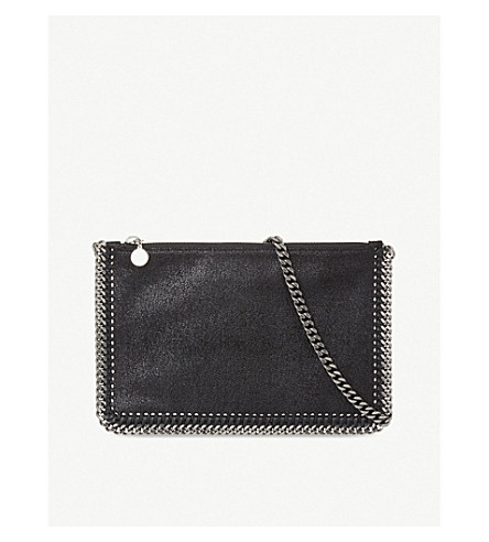 STELLA MCCARTNEY Falabella faux-leather clutch (Black