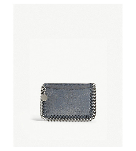 STELLA MCCARTNEY Falabella faux-suede card holder (Blue+lagoon