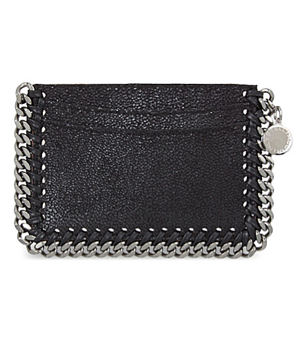 STELLA MCCARTNEY Falabella faux-suede card holder (Black