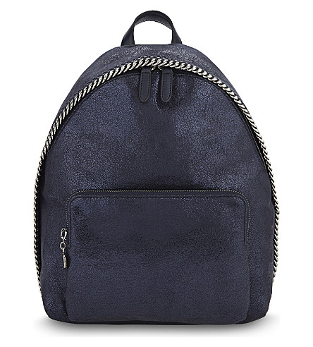 STELLA MCCARTNEY Falabella mini faux-suede backpack (Ink+navy
