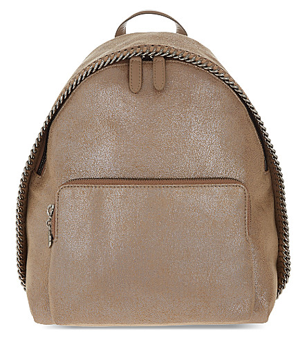 STELLA MCCARTNEY Falabella mini faux-suede backpack (Redwood
