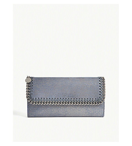 STELLA MCCARTNEY Falabella metallic continental wallet (Blue+lagoon